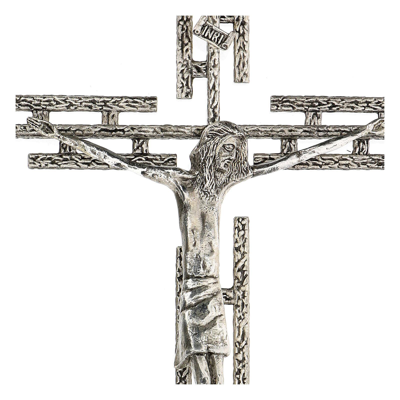 Crucifijo de metal plateado de pared h. 65 cm 4