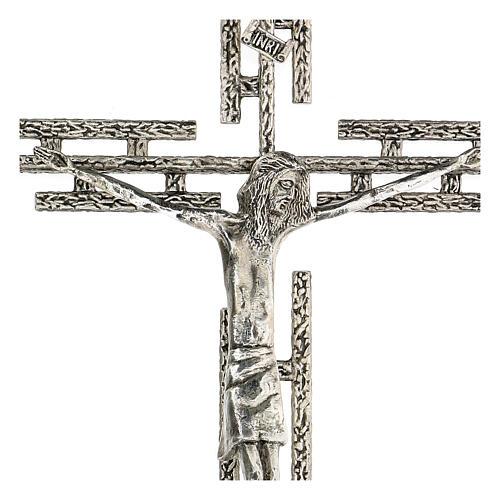 Crucifijo de metal plateado de pared h. 65 cm 2