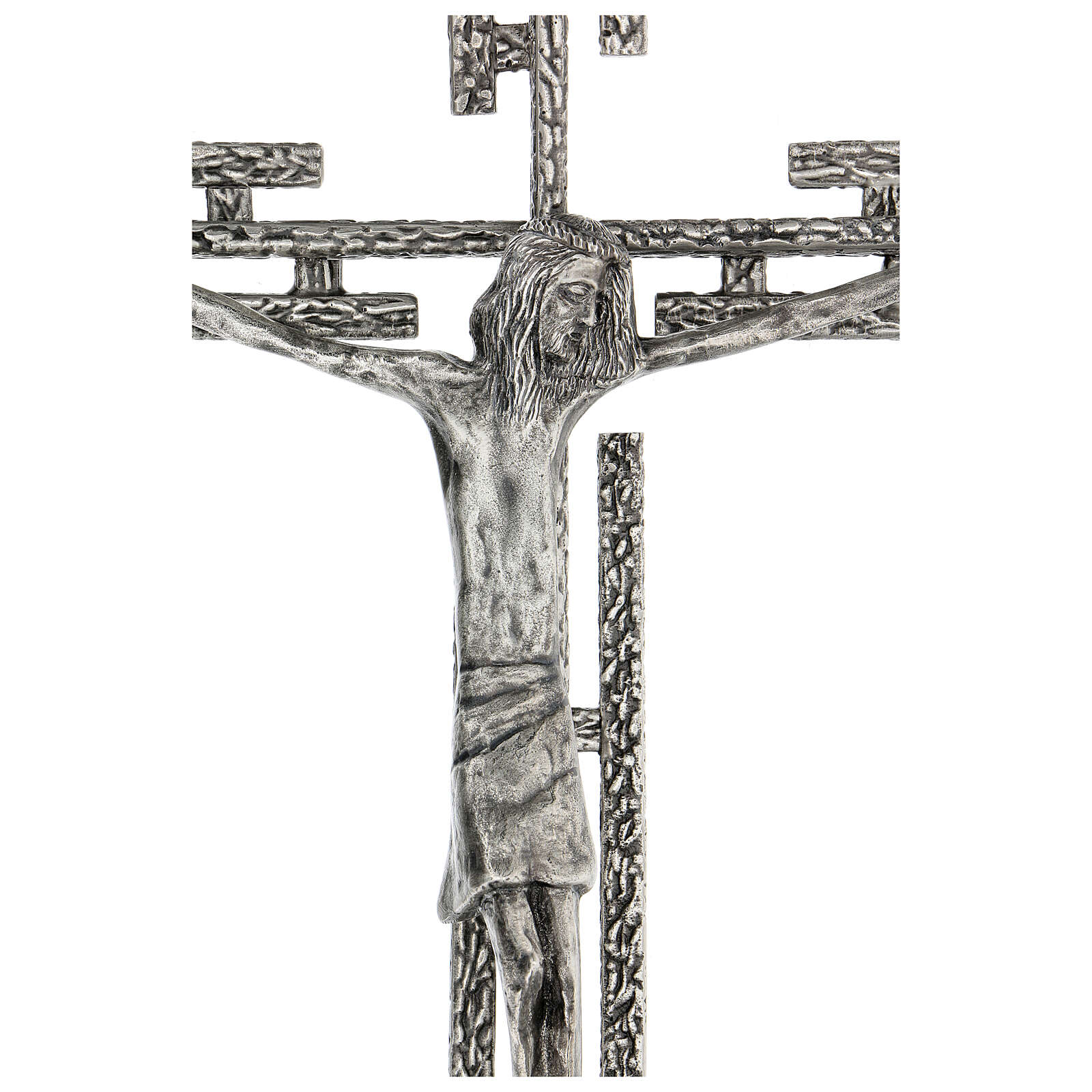 Crucifix en métal argenté mural h 65 cm 4