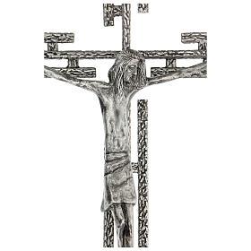 Crucifix en métal argenté mural h 65 cm s2