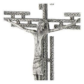 Crucifix en métal argenté mural h 65 cm s4
