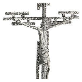 Crucifix en métal argenté mural h 65 cm s6