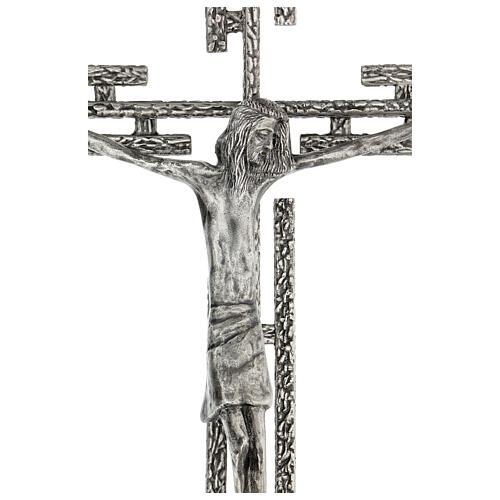 Crucifix en métal argenté mural h 65 cm 2