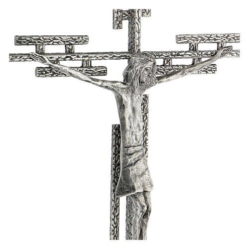 Crucifix en métal argenté mural h 65 cm 6