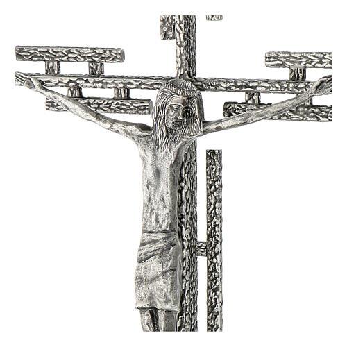 Crocefisso in metallo argentato da parete h. 65 cm 4
