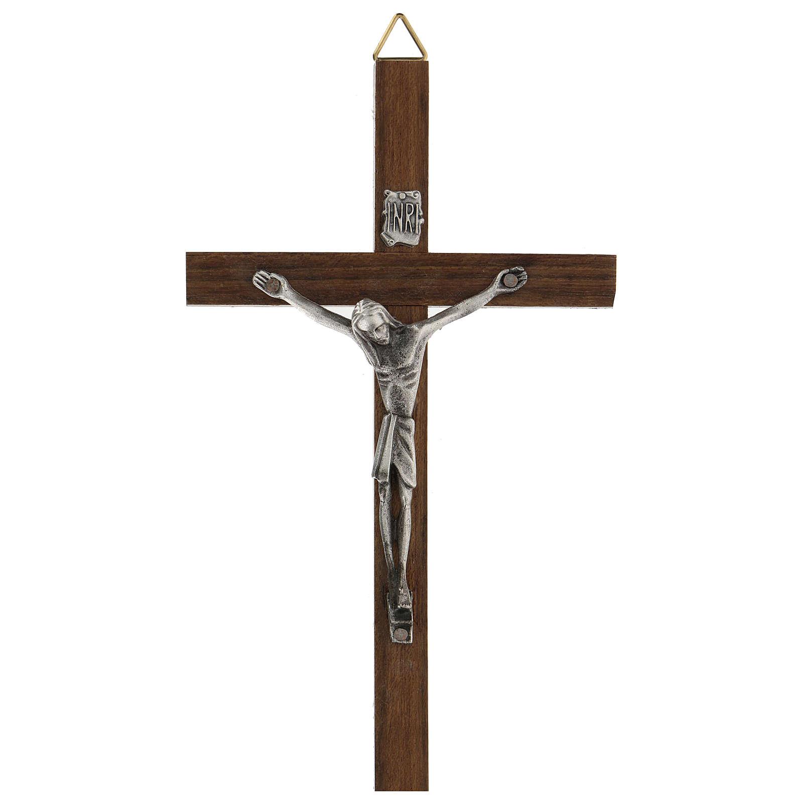 Croix en bois avec Christ en zamak 15 cm 4