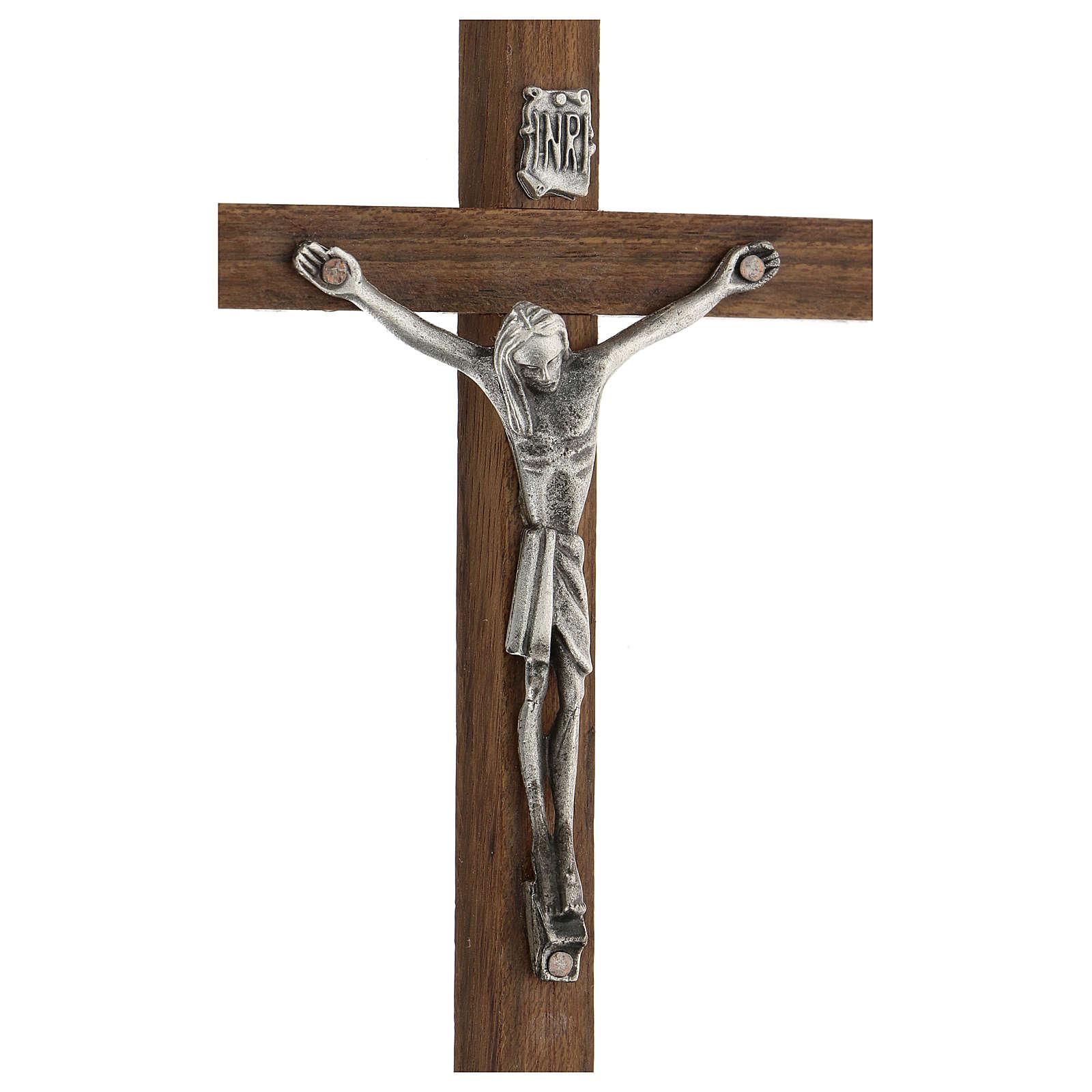 Croce di legno con Cristo in zama 15 cm 4