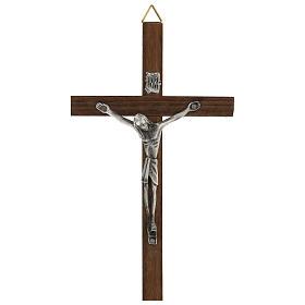 Croce di legno con Cristo in zama 15 cm s1