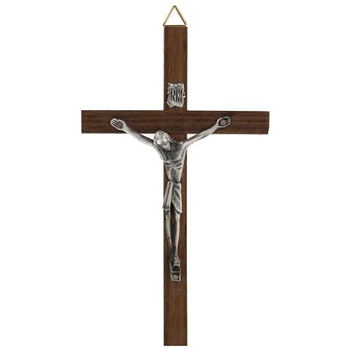 Croce di legno con Cristo in zama 15 cm 1