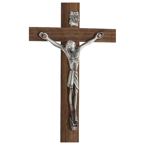 Croce di legno con Cristo in zama 15 cm 2
