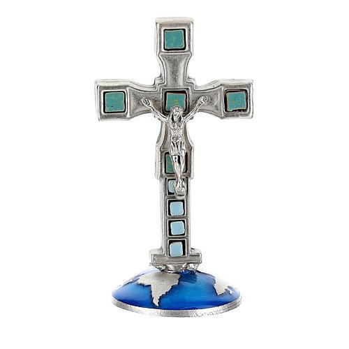 Croce con base mappamondo 8 cm in zama 1