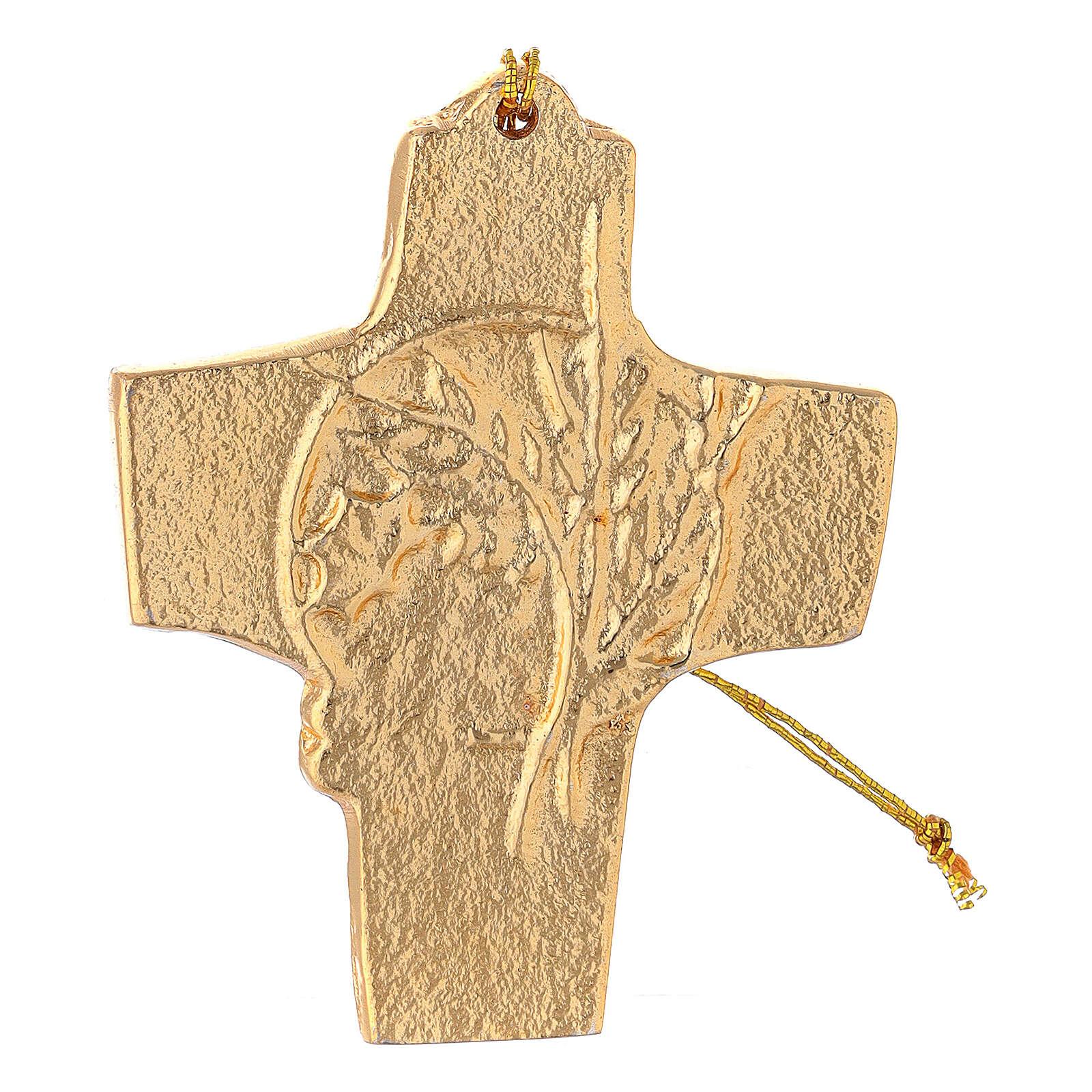 Croix à suspendre blé raisin 9,5 cm aluminium doré 4