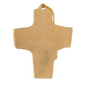 Croix à suspendre blé raisin 9,5 cm aluminium doré s3