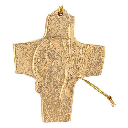 Croix à suspendre blé raisin 9,5 cm aluminium doré 1