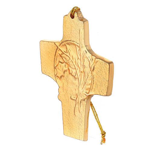 Croix à suspendre blé raisin 9,5 cm aluminium doré 2