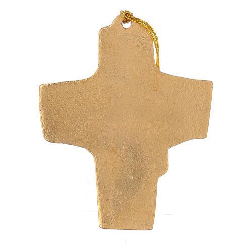 Croix à suspendre blé raisin 9,5 cm aluminium doré 3