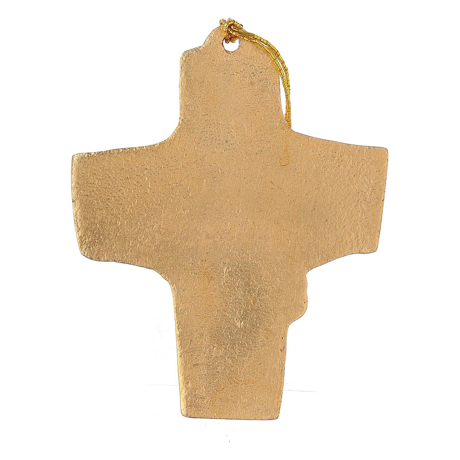 Croce da appendere grano uva 9,5 cm alluminio dorato 4