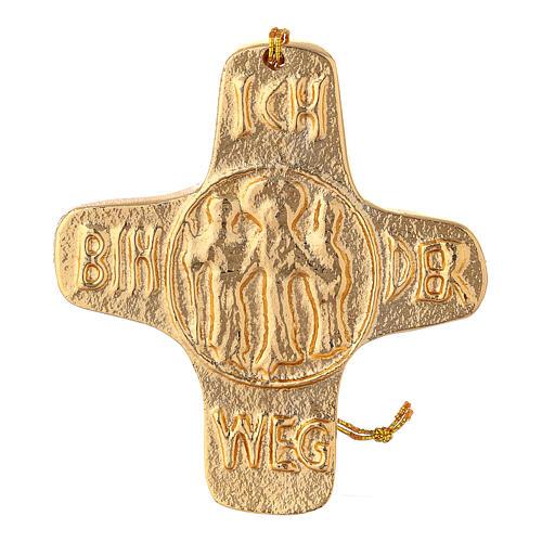 Croix murale Je suis la Vie aluminium doré 11 cm 1