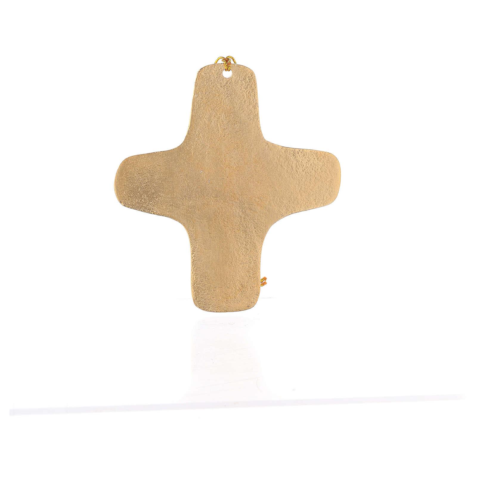 Croce da parete Io Sono La Via alluminio dorato 11 cm 4