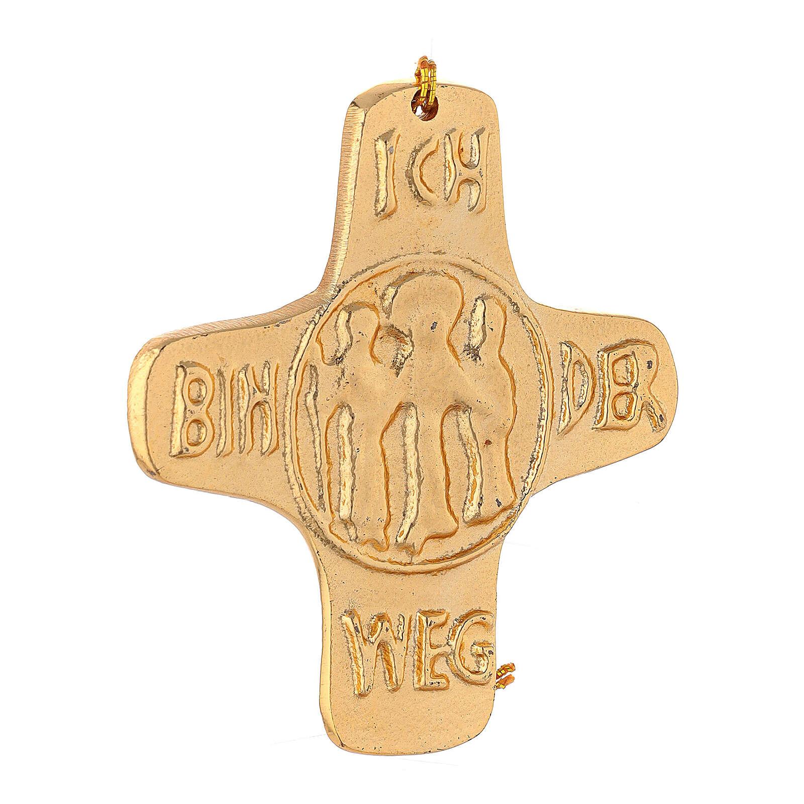 Wall cross I am Life gold plated aluminium 4 1/4 in 4