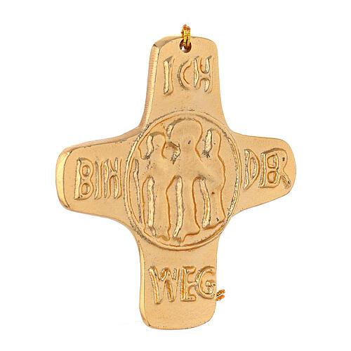 Wall cross I am Life gold plated aluminium 4 1/4 in 3