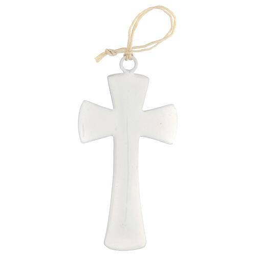 Cruz de pared esmalte blanco 10 cm 3