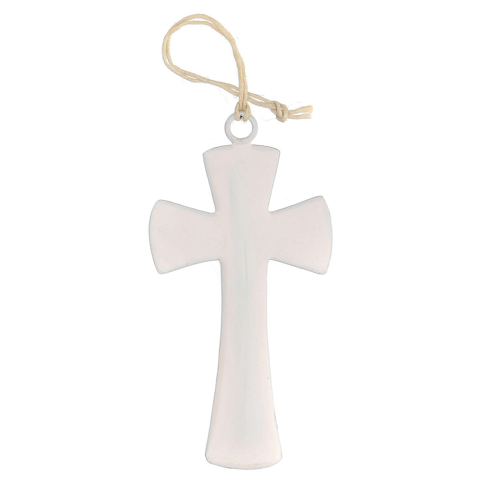Croix murale émail blanc 10 cm 4