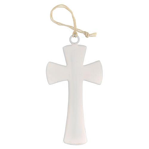 Croix murale émail blanc 10 cm 1