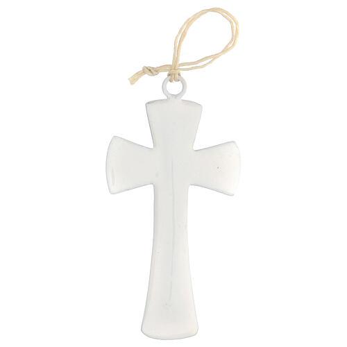 Croix murale émail blanc 10 cm 3
