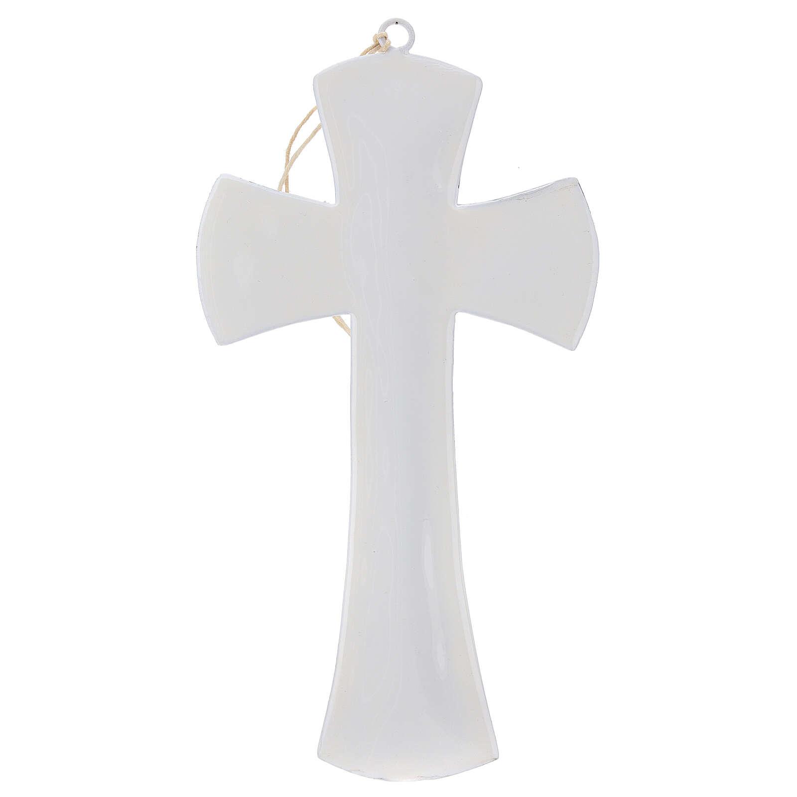 Croix murale fer émaillé blanc 20 cm 4