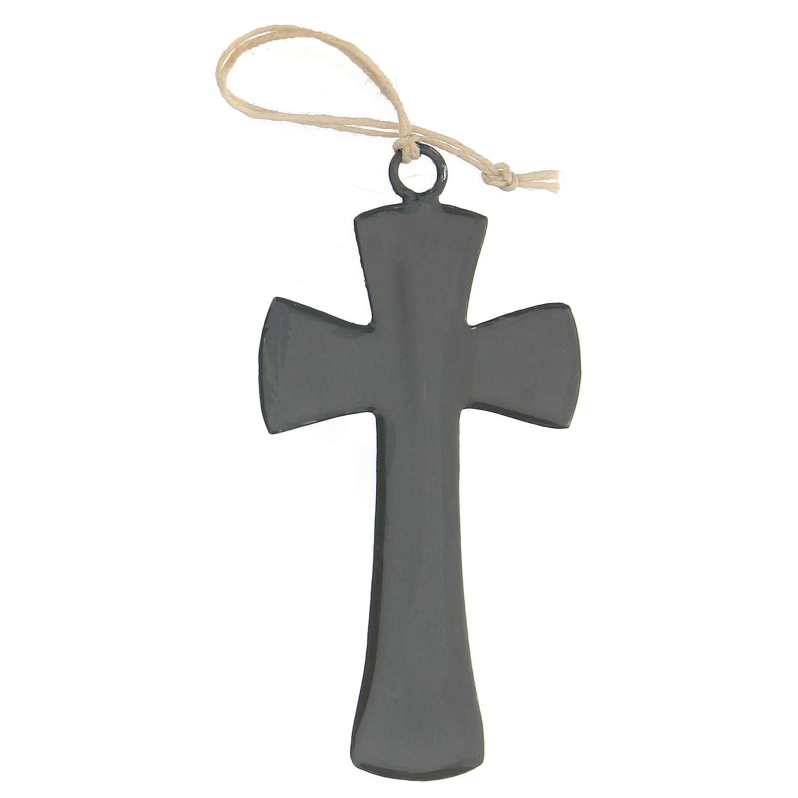 Croix murale 10 cm émail gris 4