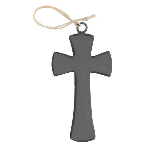 Croix murale 10 cm émail gris 1