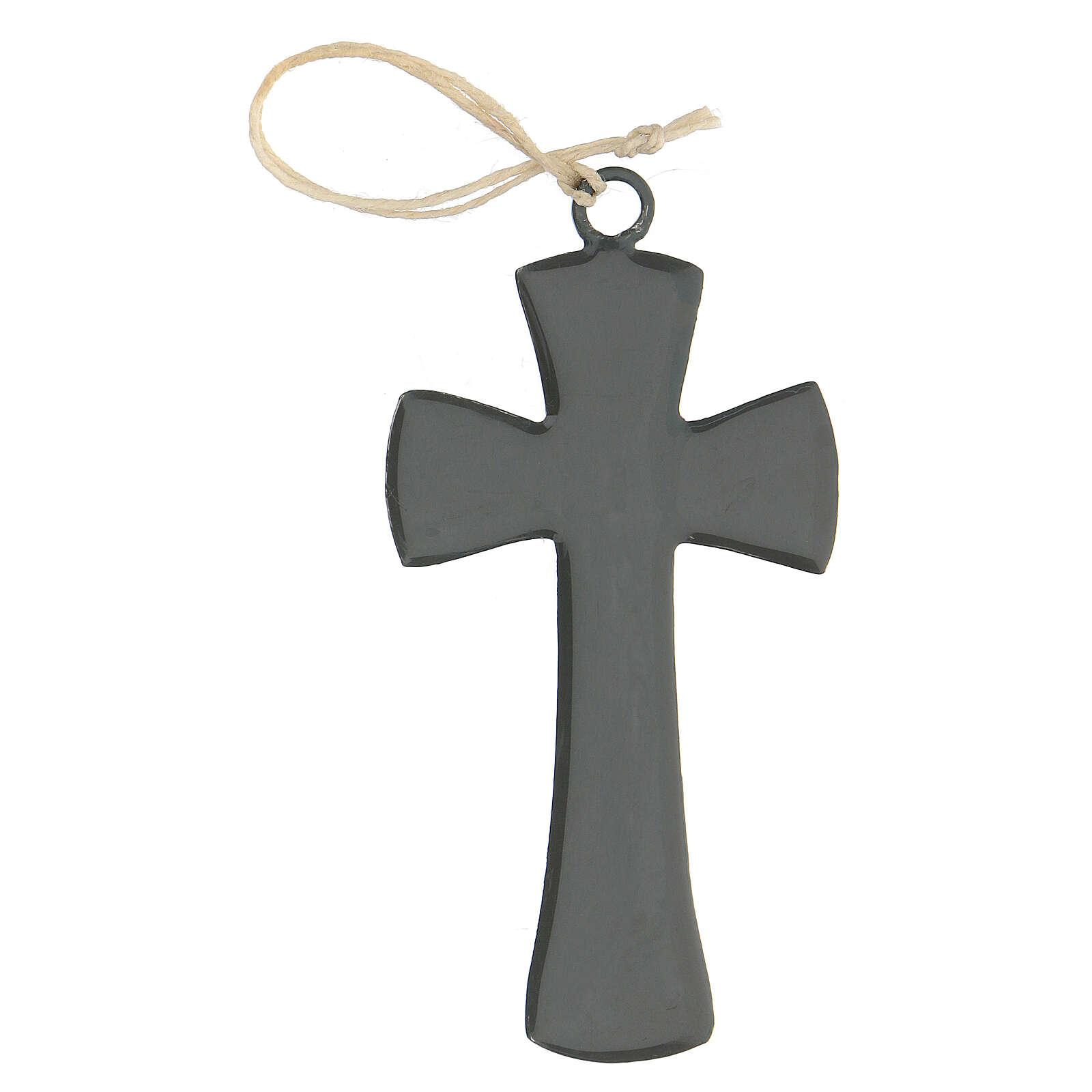 Croce muraria 10 cm smalto grigio 4