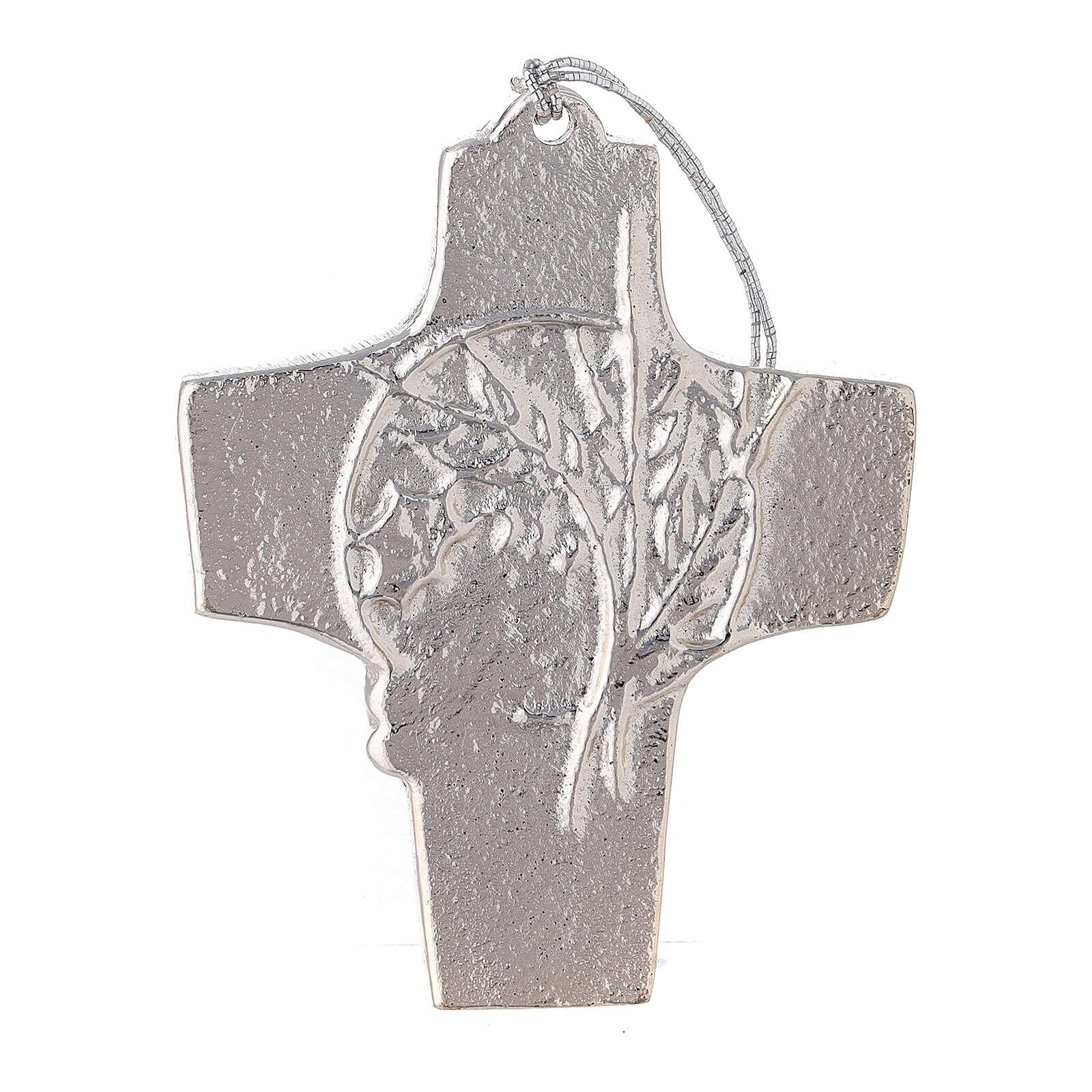 Croix murale blé raisin aluminium 9,5 cm 4