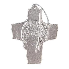 Croix murale blé raisin aluminium 9,5 cm s1