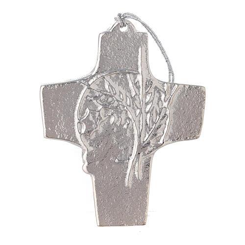 Croix murale blé raisin aluminium 9,5 cm 1