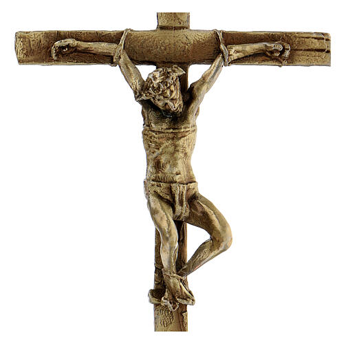Crocifisso lega bronzata Cristo Via Dolorosa Via Crucis 15 cm