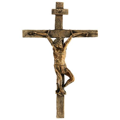 Crocifisso Via Dolorosa Bronzo Gesù forgiato 35 cm