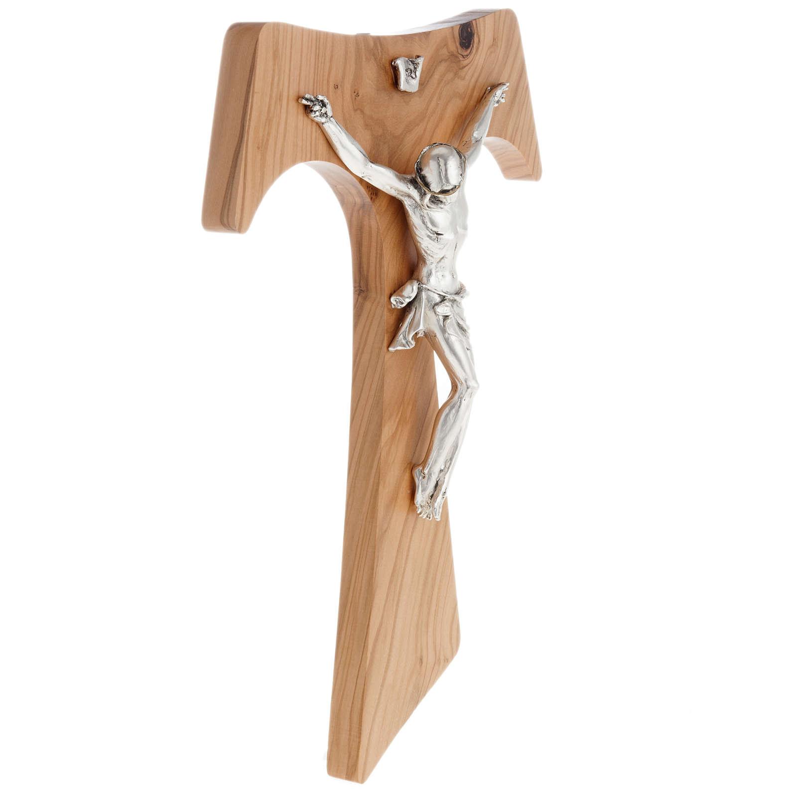 Tau en bois d'olivier, métal argenté 37 cm 4