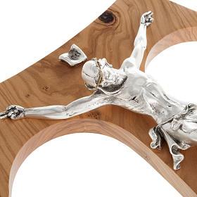 Tau en bois d'olivier, métal argenté 37 cm s4