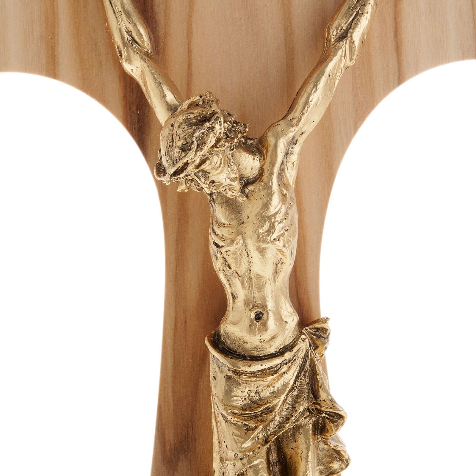 Tau en bois d'olivier, métal doré 26 cm 4