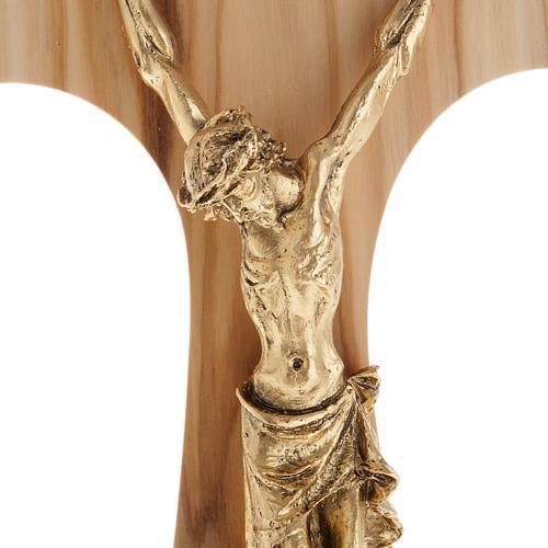 Tau en bois d'olivier, métal doré 26 cm 2