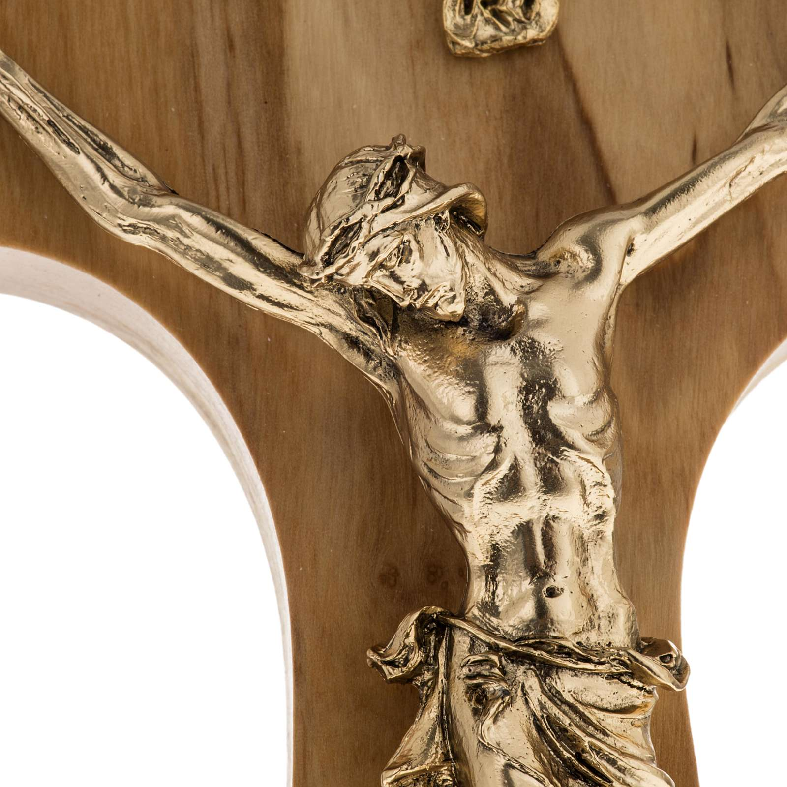 Olive wood tau body of Christ in gilded metal 19.5 cm 4
