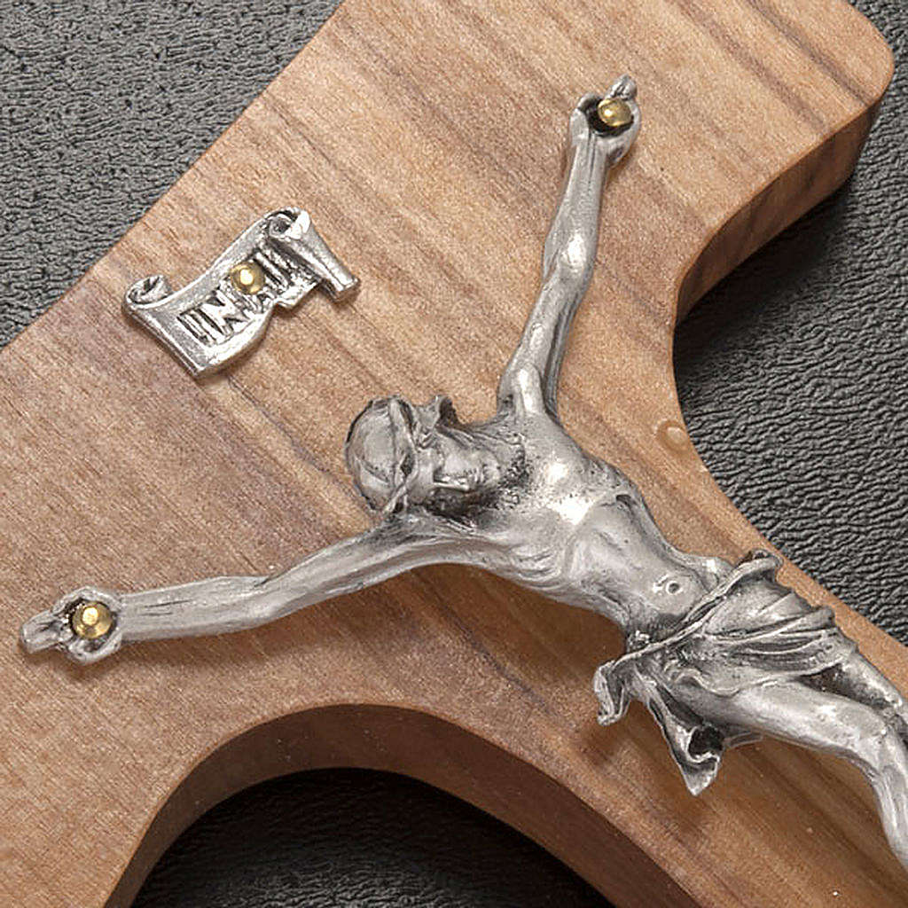 Olive wood tau and body of Christ in silvery metal 4