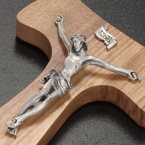 Olive wood tau and body of Christ in silvery metal 3