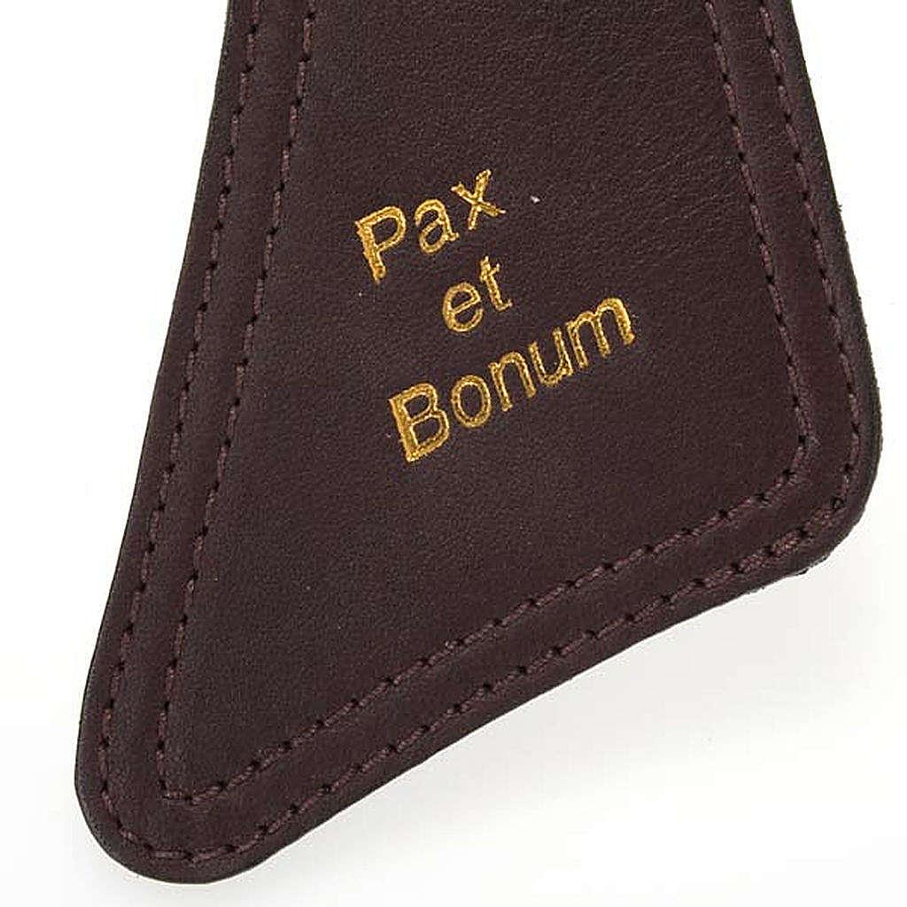 Tau en piel marrón oscuro Pax et Bonum 4