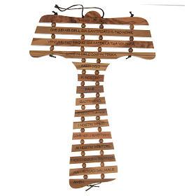 Tau crosses: Tau cross in olive wood with prayer in ITALIAN
