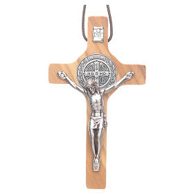 Saint Benedict olive wood cross pendant s1