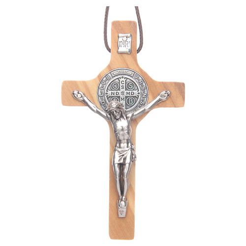 Saint Benedict olive wood cross pendant 1