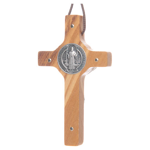 Saint Benedict olive wood cross pendant 2